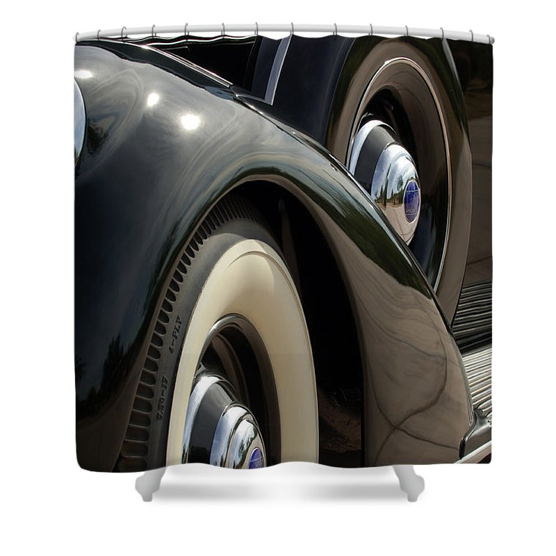 Car Shower Curtain featuring the photograph 1937 Lincoln K Brunn Abstract by Jill Reger