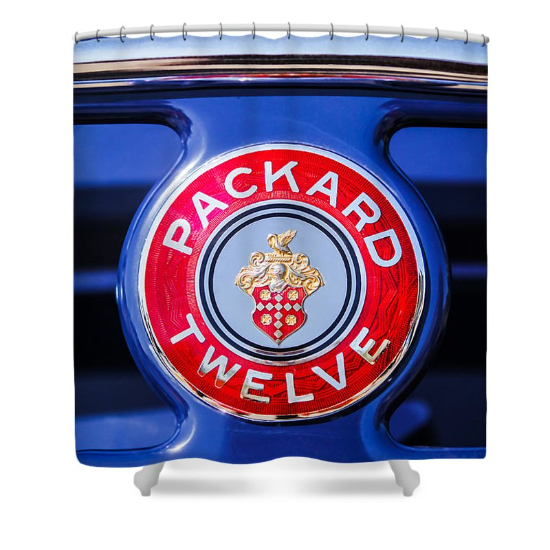 Car Shower Curtain featuring the photograph 1937 Packard 12 Coupe Roadster Emblem by Jill Reger