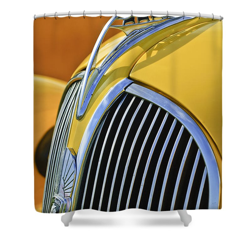 1937 Plymouth Shower Curtain featuring the photograph 1937 Plymouth Hood Ornament 2 by Jill Reger