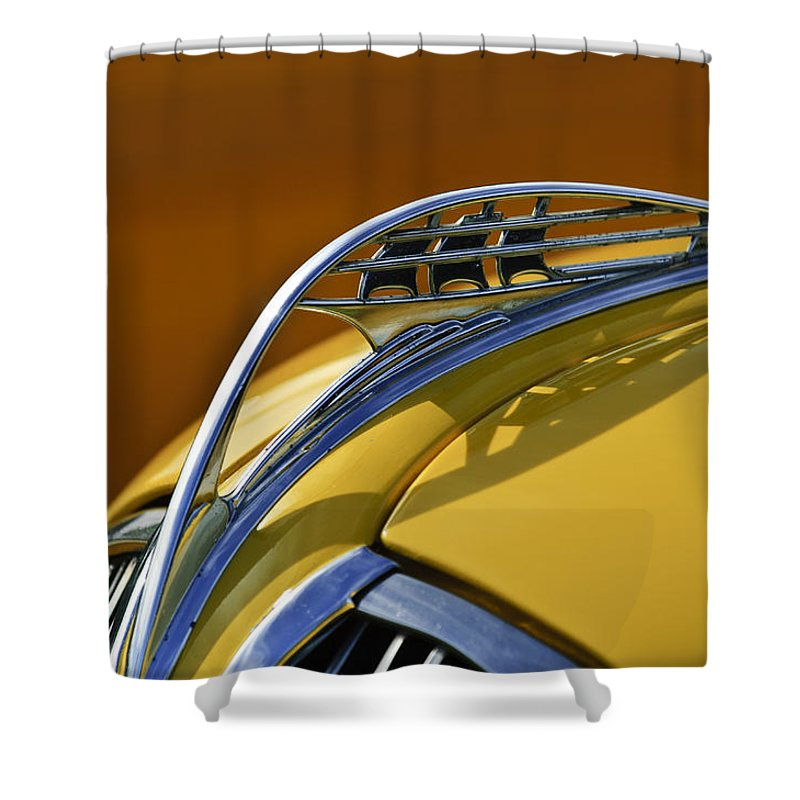 1937 Plymouth Shower Curtain featuring the photograph 1937 Plymouth Hood Ornament by Jill Reger