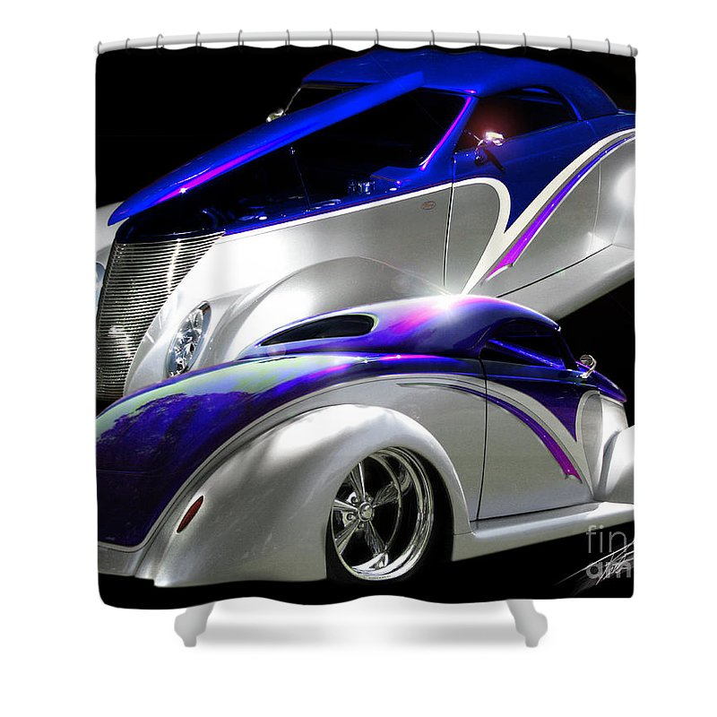 1937 Ford Coupe Shower Curtain featuring the photograph 1937 Striped Coupe by Peter Piatt