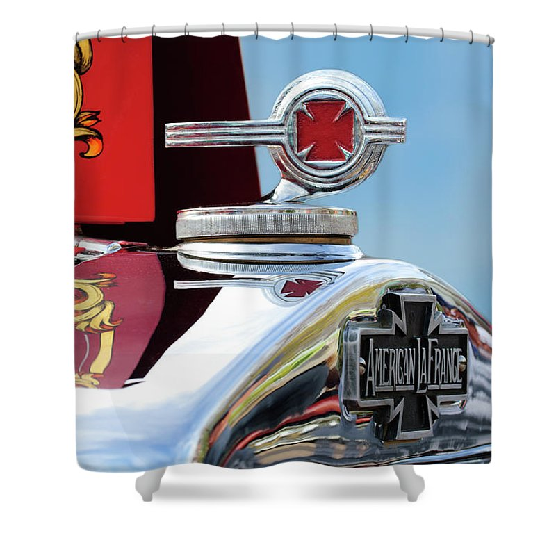 1938 American Lafrance Type 400 Fire Truck Shower Curtain featuring the photograph 1938 American Lafrance Fire Truck Hood Ornament by Jill Reger