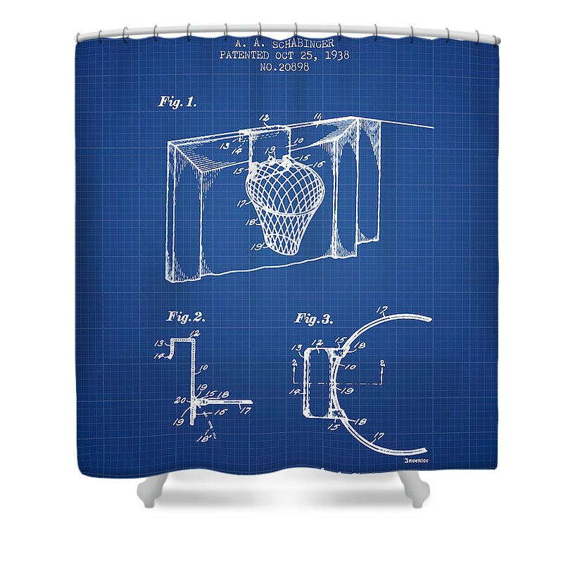 Basketball Shower Curtain Featuring The Digital Art 1938 Goal Patent