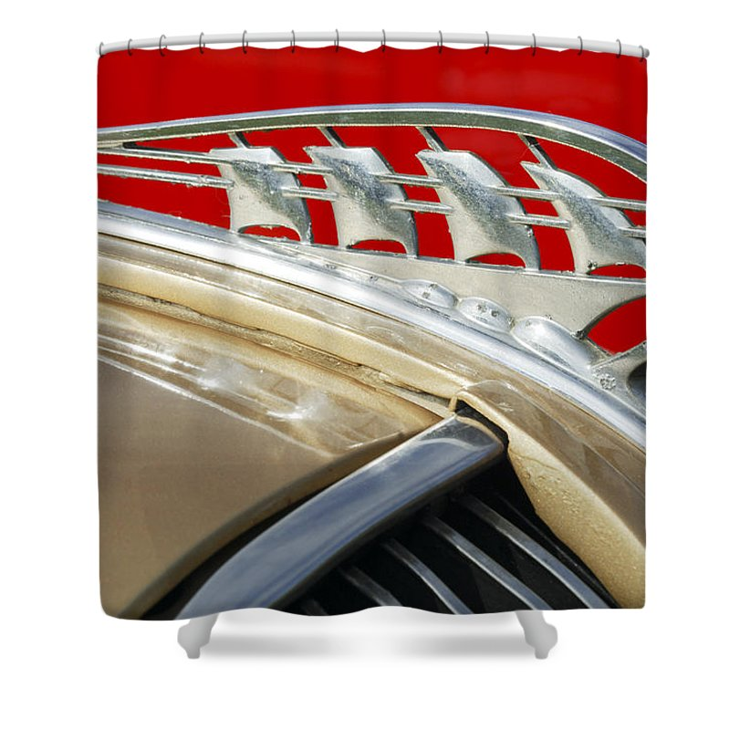Car Shower Curtain featuring the photograph 1938 Plymouth Hood Ornament by Jill Reger