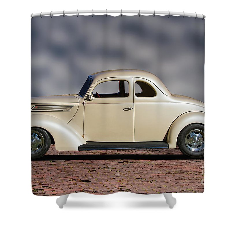 1939 Shower Curtain featuring the photograph 1939 Chevrolet White Coupe by Nick Gray