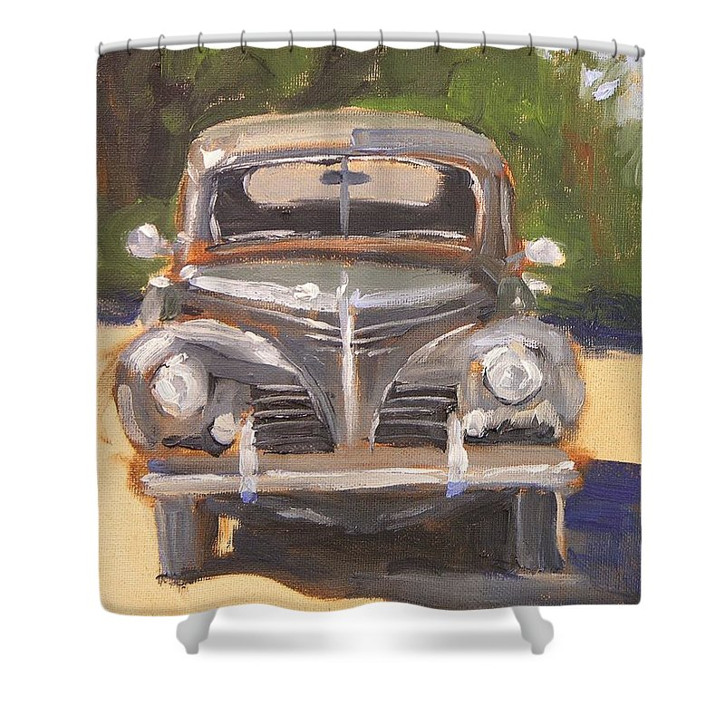 Plymouth Shower Curtain featuring the painting 1940 Plymouth by Mary McInnis