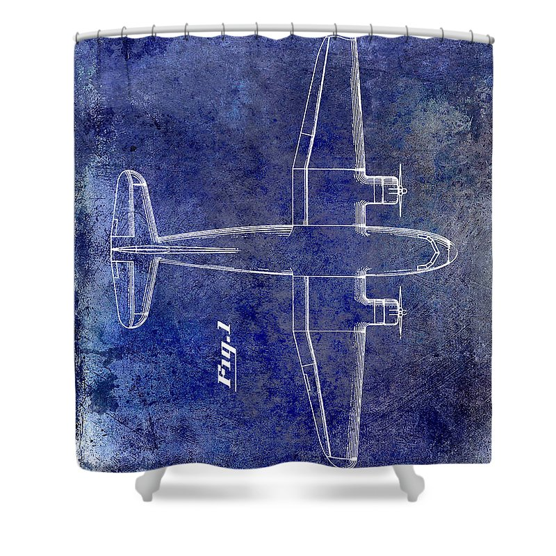 1955 Airplane Patent Shower Curtain featuring the photograph 1945 Transport Airplane Patent Blue by Jon Neidert
