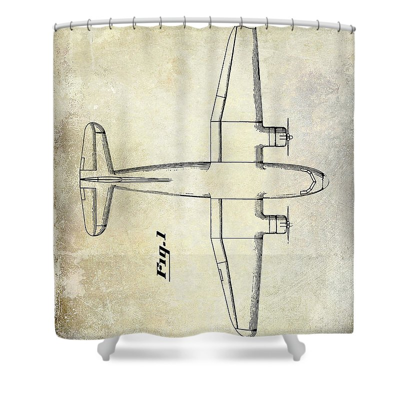1955 Airplane Patent Shower Curtain featuring the photograph 1945 Transport Airplane Patent by Jon Neidert