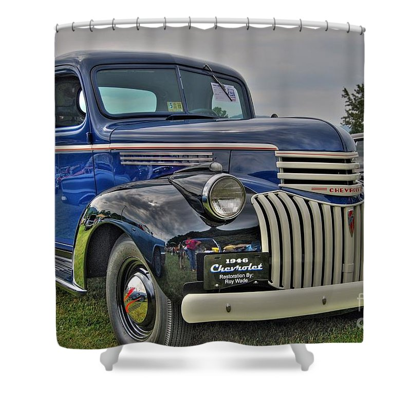 1946 Chevy Shower Curtain featuring the photograph 1946 Chevy by Todd Hostetter