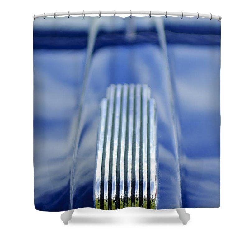 1946 Mercury Shower Curtain featuring the photograph 1946 Mercury Hood Ornament by Jill Reger