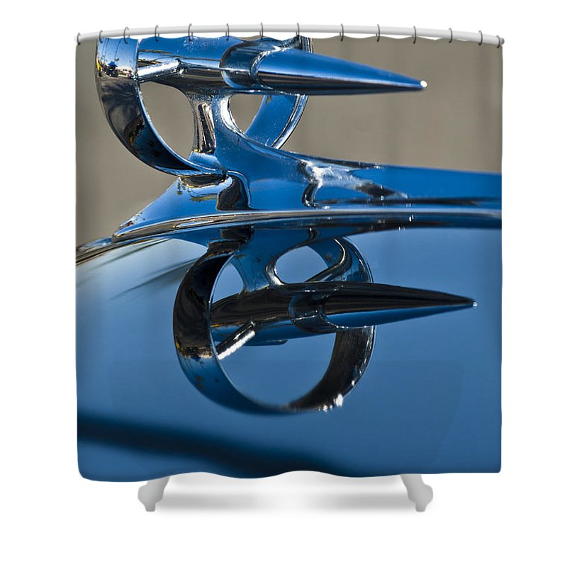 1947 Buick Roadmaster Shower Curtain featuring the photograph 1947 Buick Roadmaster Hood Ornament by Jill Reger