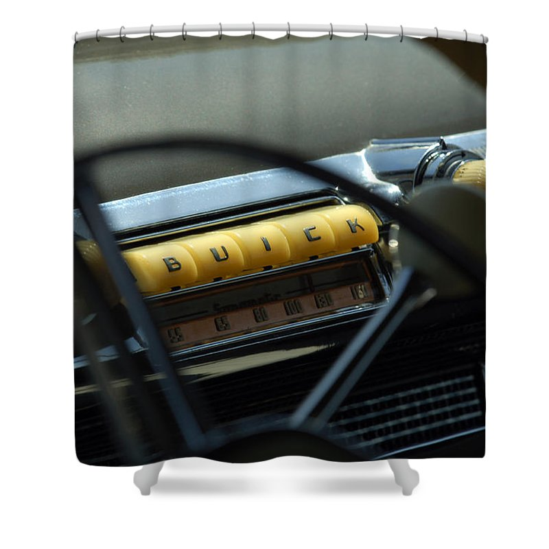 Car Shower Curtain featuring the photograph 1947 Buick Super Radio by Jill Reger