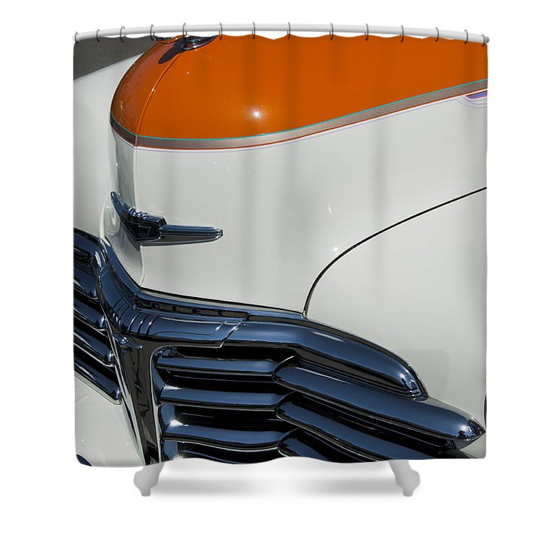 1947 Chevrolet Deluxe Shower Curtain featuring the photograph 1947 Chevrolet Deluxe Front End by Jill Reger