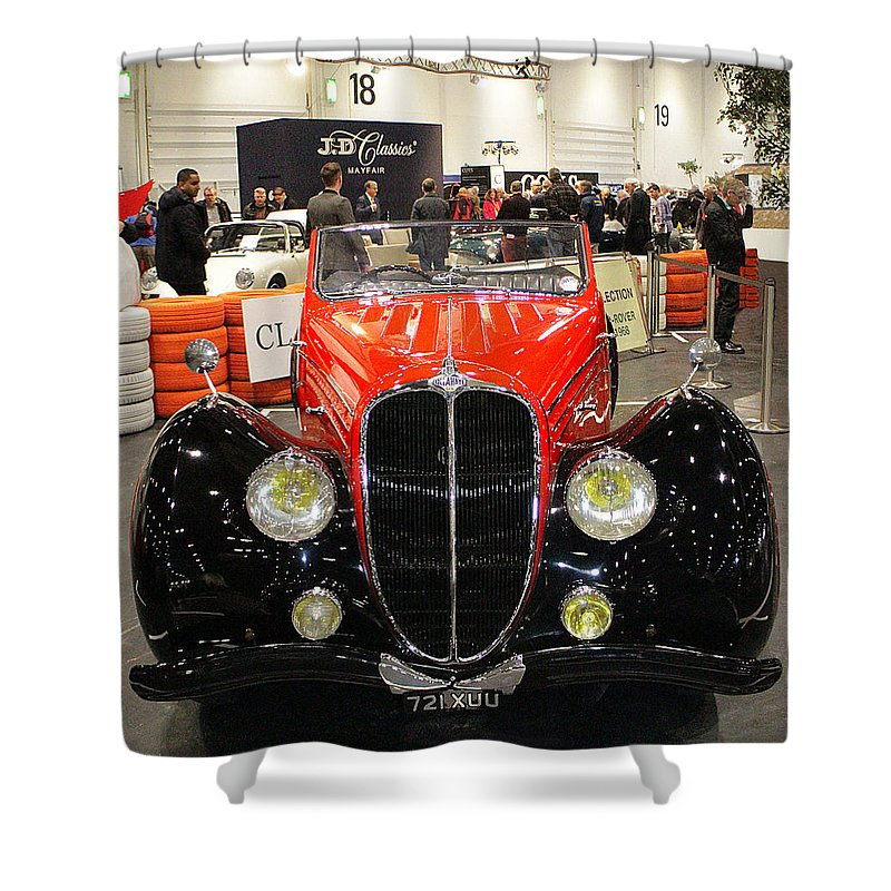 1947 Shower Curtain featuring the photograph 1947 Delahaye 135m Letourner Et Marchand Cabriolet by Peter Lloyd