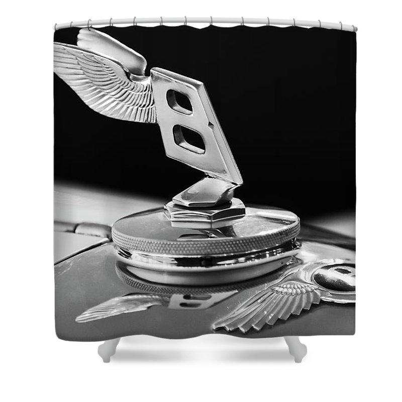 1948 Bentley Shower Curtain featuring the photograph 1948 Bentley Hood Ornament 3 by Jill Reger