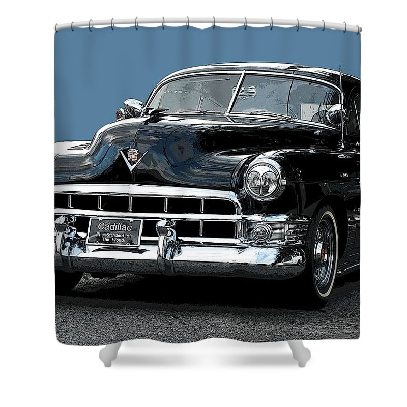 1948 Cadillac Shower Curtain featuring the photograph 1948 Cadillac Fastback by Robert Meanor