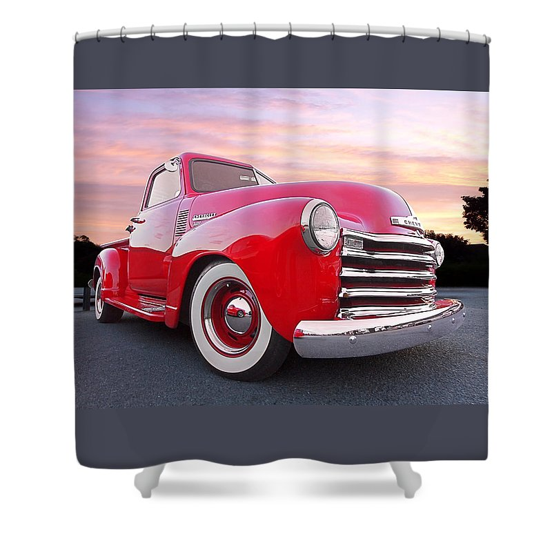 Chevrolet Truck Shower Curtain featuring the photograph 1950 Chevy Pick Up At Sunset by Gill Billington