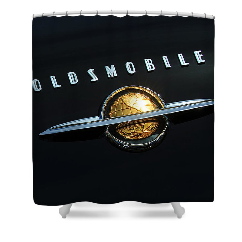 Car Shower Curtain featuring the photograph 1950 Oldsmobile Rocket 88 Convertible Emblem by Jill Reger
