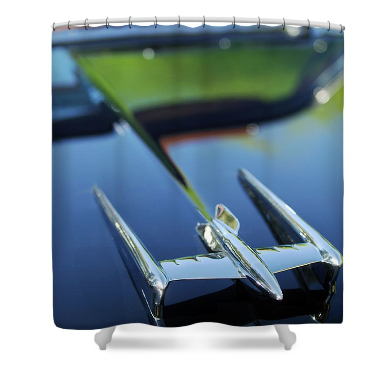 Car Shower Curtain featuring the photograph 1950 Oldsmobile Rocket 88 Convertible Hood Ornament by Jill Reger