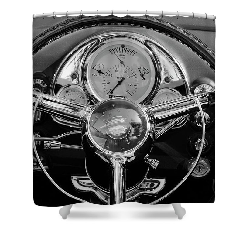 1950 Oldsmobile Rocket 88 Shower Curtain featuring the photograph 1950 Oldsmobile Rocket 88 Steering Wheel 4 by Jill Reger