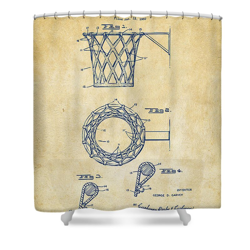 Basketball Shower Curtain featuring the digital art 1951 Basketball Net Patent Artwork - Vintage by Nikki Marie Smith