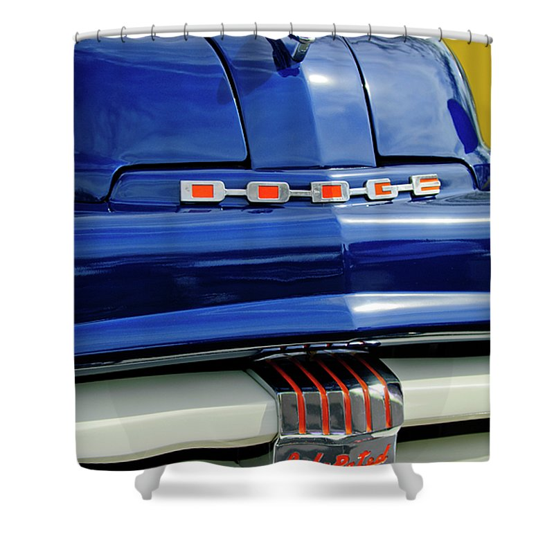 1951 Dodge Pilot House Shower Curtain featuring the photograph 1951 Dodge Pilot House Pickup Grille by Jill Reger