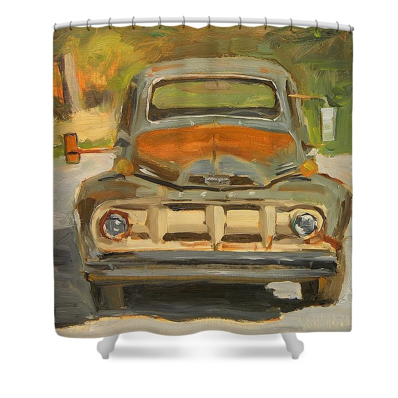 Ford Shower Curtain featuring the painting 1951 Ford Truck by Mary McInnis