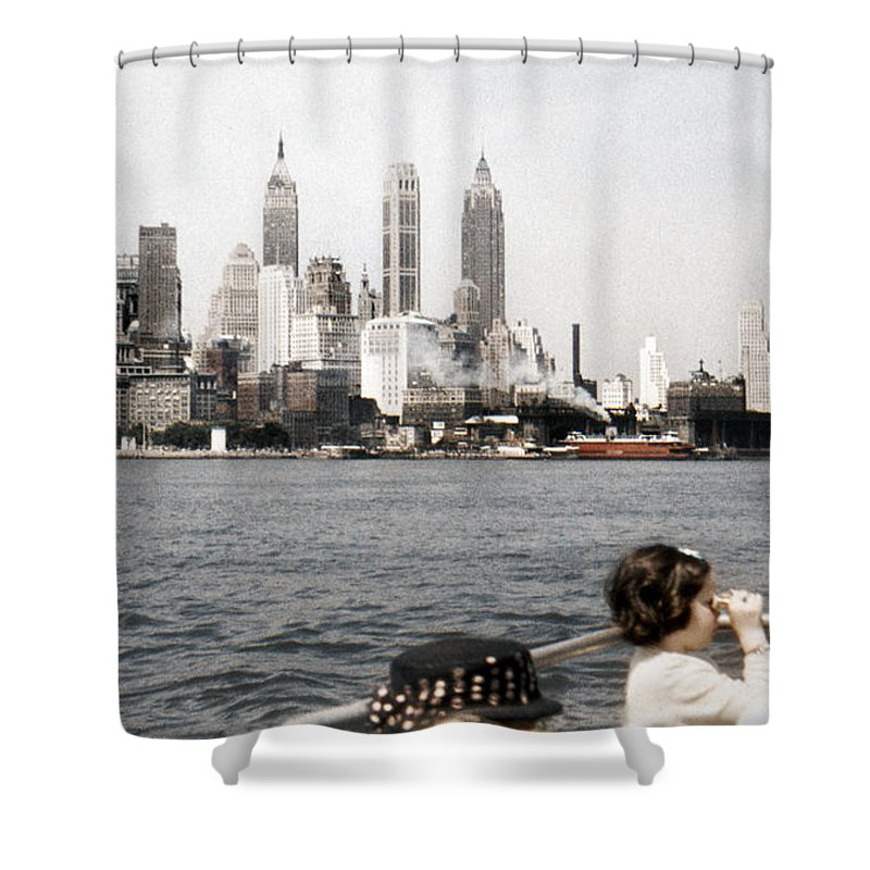 1951 Shower Curtain Featuring The Photograph Lower Manhattan New York Skyline By Marilyn Hunt
