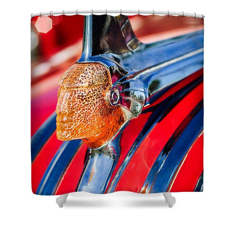 1951 Pontiac Chief Hood Ornament Shower Curtain featuring the photograph 1951 Pontiac Chief Hood Ornament by Jill Reger
