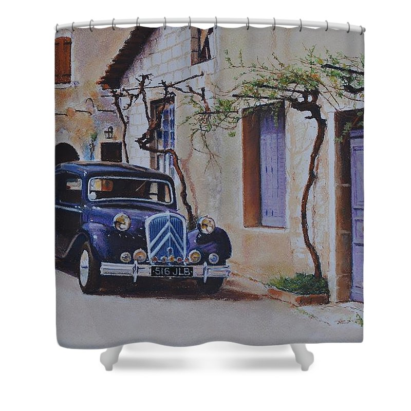 Classic Cars Shower Curtain featuring the pastel 1951's Citroen by Iliyan Bozhanov
