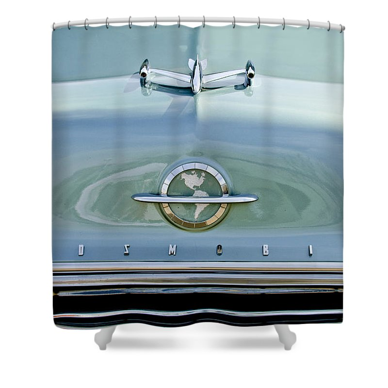 1954 Oldsmobile Shower Curtain featuring the photograph 1954 Oldsmobile Super 88 Hood Ornament 3 by Jill Reger
