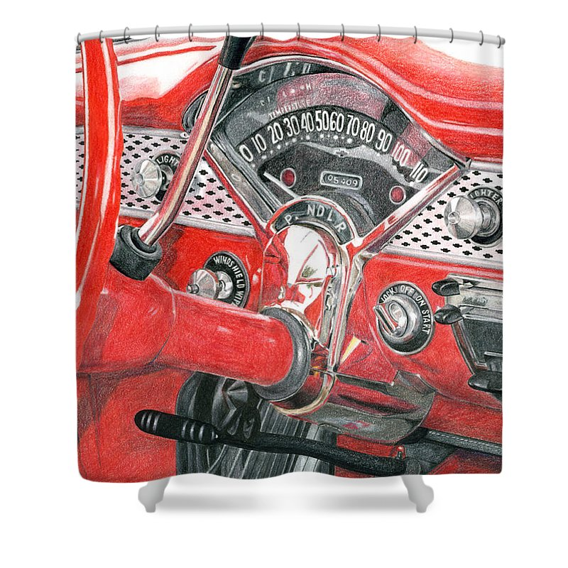 Classic Shower Curtain featuring the drawing 1955 Chevrolet Bel Air by Rob De Vries