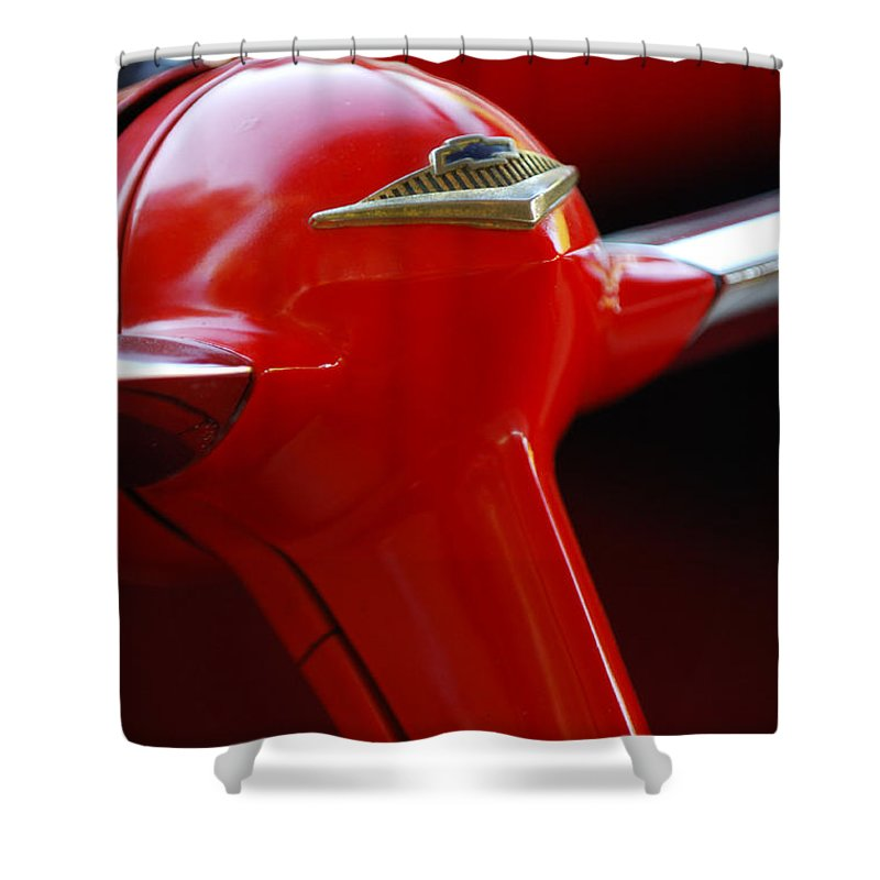 Car Shower Curtain featuring the photograph 1955 Chevrolet Belair Nomad Steering Wheel 2 by Jill Reger