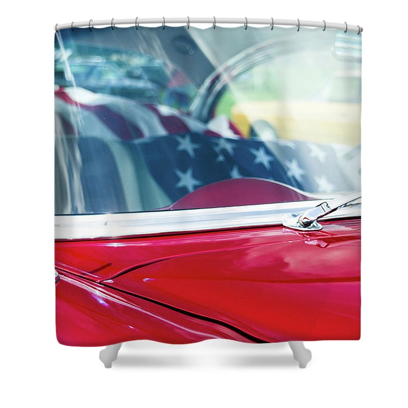 Gaetano Chieffo Shower Curtain featuring the photograph 1955 Chevy Bel Air With Flag by Gaetano Chieffo