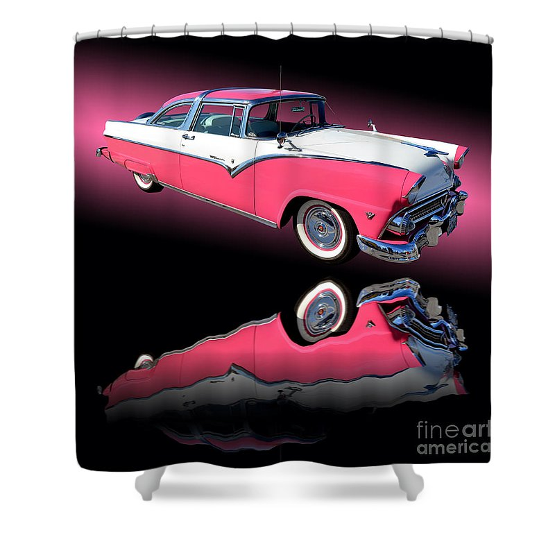 Car Shower Curtain featuring the photograph 1955 Ford Fairlane Crown Victoria by Jim Carrell