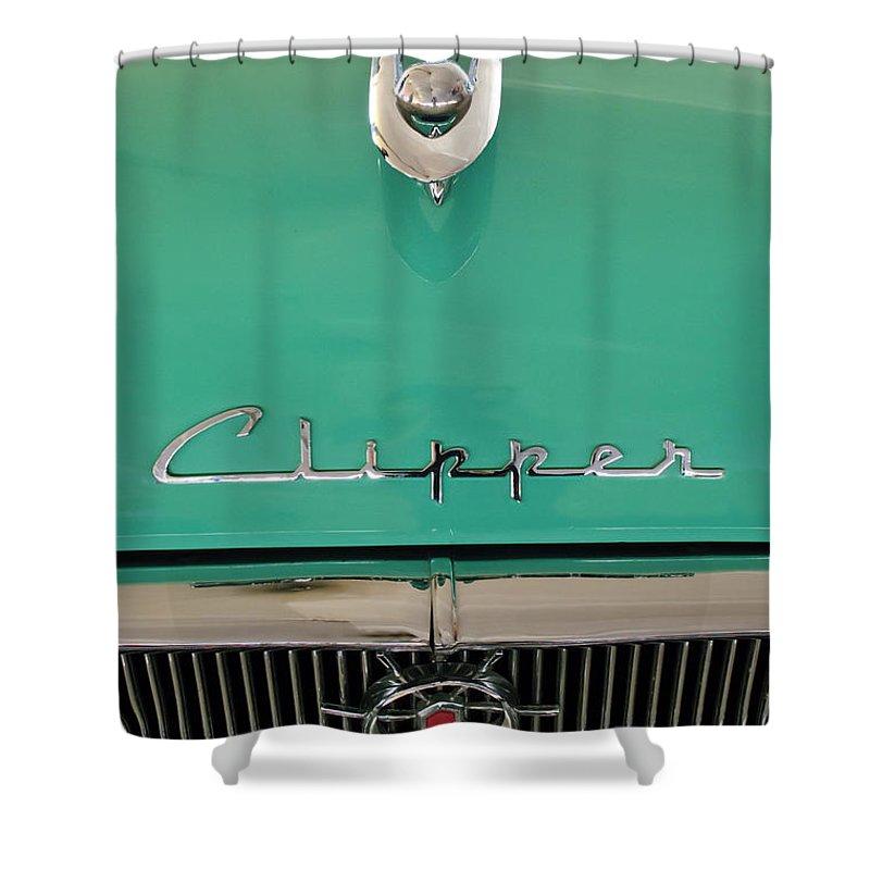 1955 Packard Clipper Custom Sedan Shower Curtain featuring the photograph 1955 Packard Clipper Hood Ornament by Jill Reger