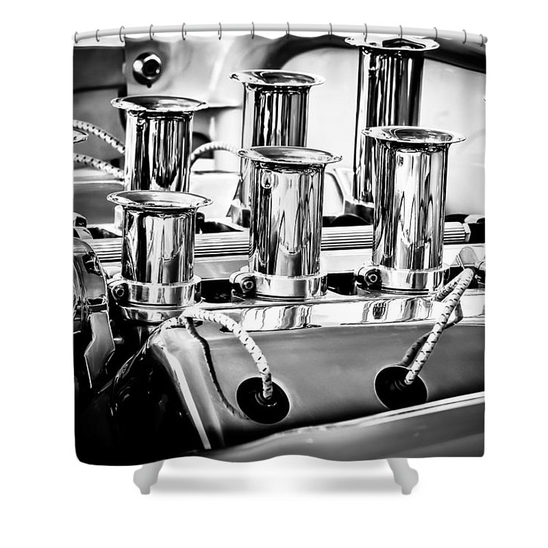 1956 Chrysler Engine Shower Curtain featuring the photograph 1956 Chrysler Hot Rod Engine by Jill Reger