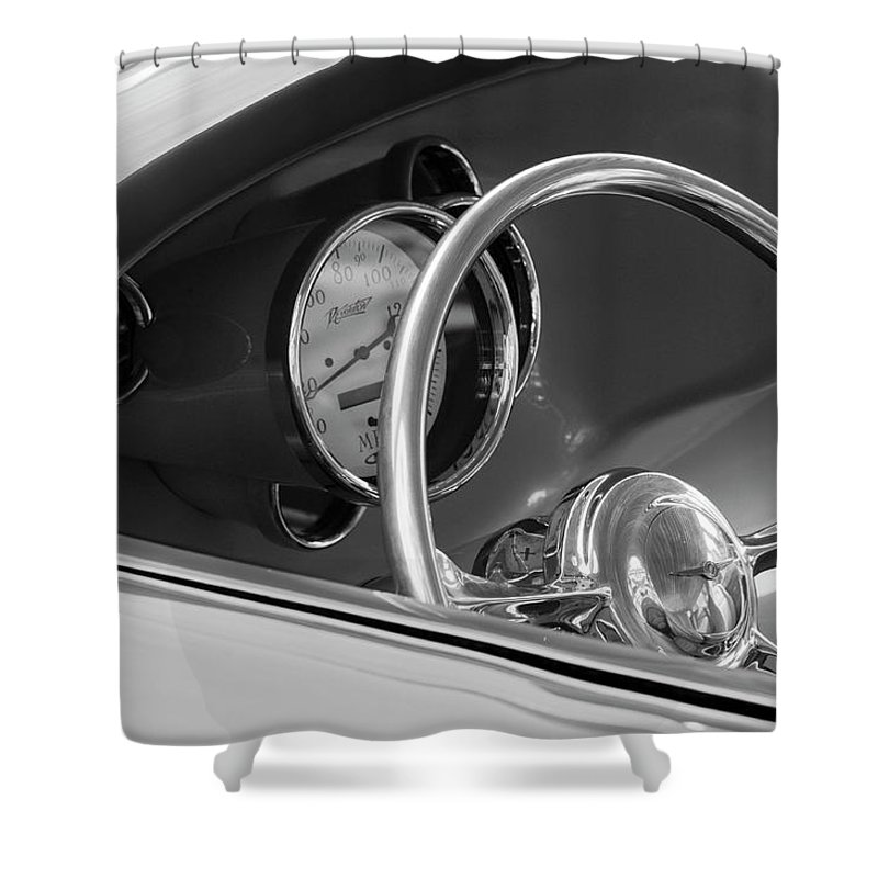 1956 Chrysler Custom 2 Door Sport Wagon Shower Curtain featuring the photograph 1956 Chrysler Hot Rod Steering Wheel by Jill Reger