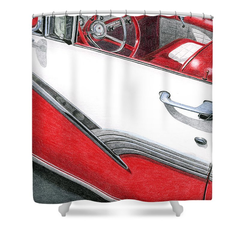 Americana Shower Curtain featuring the drawing 1956 Ford Fairlane Convertible 2 by Rob De Vries