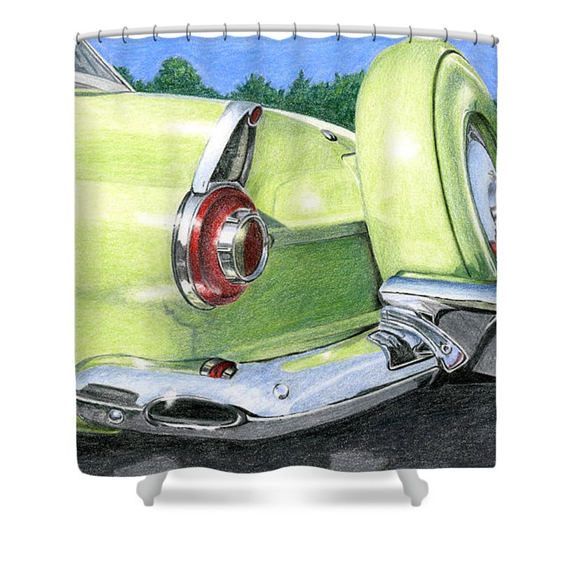 Classic Shower Curtain featuring the drawing 1956 Ford Thunderbird by Rob De Vries