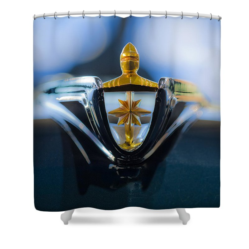 1956 Lincoln Premiere Convertible Shower Curtain featuring the photograph 1956 Lincoln Hood Ornament by Jill Reger