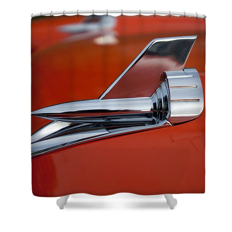 1957 Chevrolet Shower Curtain featuring the photograph 1957 Chevrolet Hood Ornament by Jill Reger