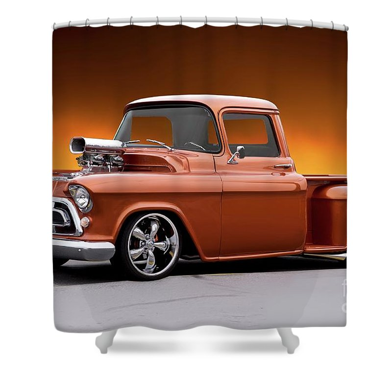 Automobile Shower Curtain featuring the photograph 1957 Chevrolet Stepside Pickup L by Dave Koontz
