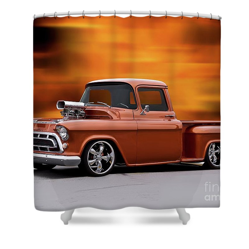 Automobile Shower Curtain featuring the photograph 1957 Chevrolet Stepside Pickup Ll by Dave Koontz