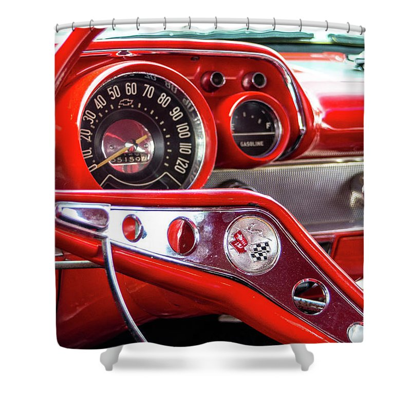 Gaetano Chieffo Shower Curtain featuring the photograph 1957 Chevy Bel Air Stering Wheel by Gaetano Chieffo