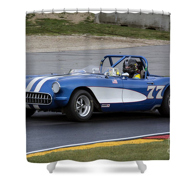 Automobile Shower Curtain featuring the photograph 1957 Chevy Corvette At Road America by Tad Gage