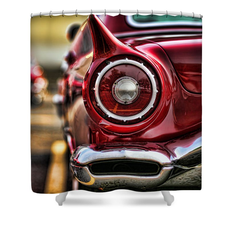 1957 Shower Curtain featuring the photograph 1957 Ford Thunderbird Red Convertible by Gordon Dean II