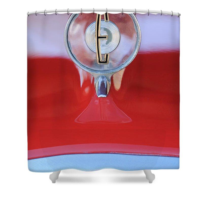 1958 Edsel Ranger Shower Curtain featuring the photograph 1958 Edsel Ranger Hood Ornament 2 by Jill Reger