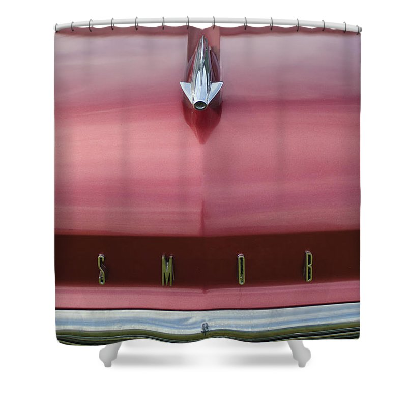 1958 Oldsmobile S-88 Shower Curtain featuring the photograph 1958 Oldsmobile S-88 Hood Ornament 2 by Jill Reger