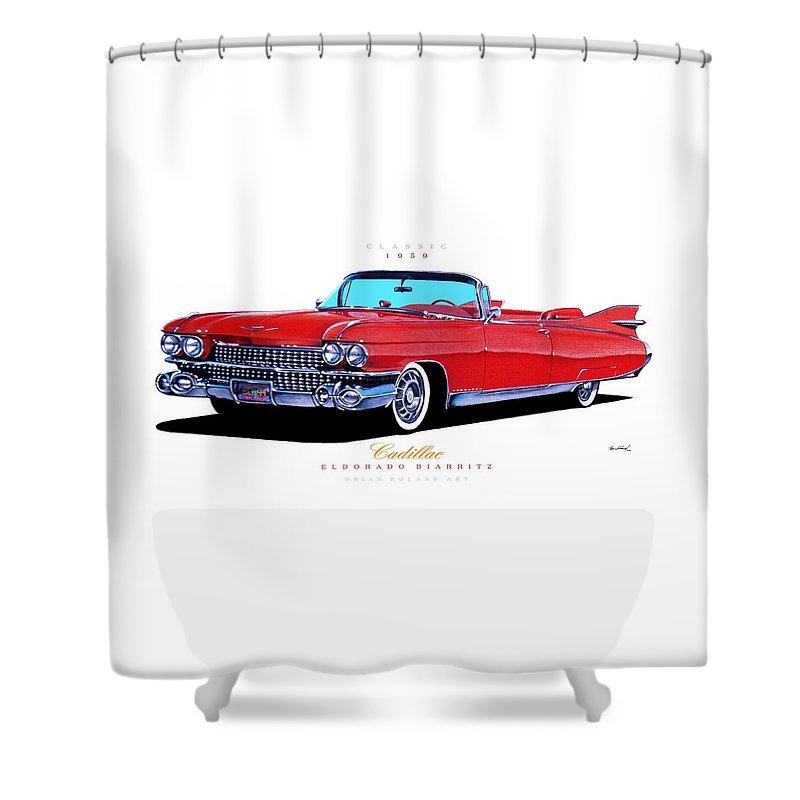 1959 Cadillac Eldorado Biarritz Shower Curtain For Sale By Brian Roland